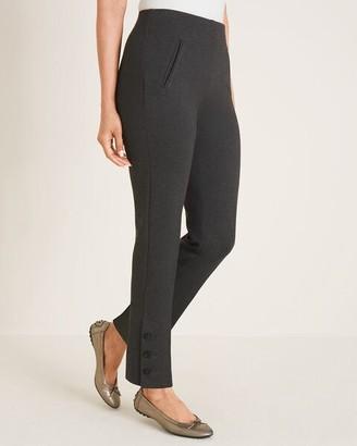 So Slimming Juliet Flower Button-Hem Ankle Pants