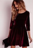 Missguided 3/4 Sleeve Velvet Skater Dress Oxblood