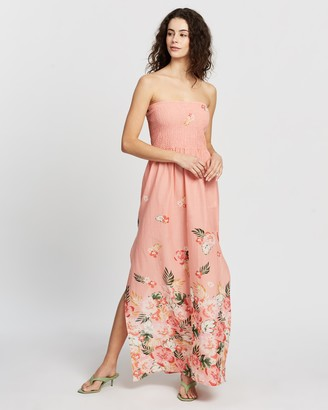 Dorothy Perkins Tropical Print Border Shirred Maxi Dress