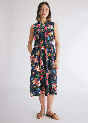 Engineered Garments Women's Classic Dress in Black Tropical Floral Print, Size 1