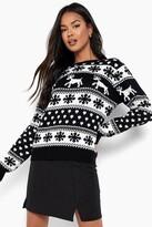 boohoo Hollie Reindeer & Snowflake Christmas Jumper