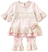 Bonnie Jean Bonnie Baby Baby Girls 12-24 Months Lace-Trimmed A-Line Dress & Printed Leggings Set