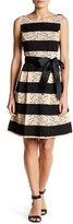 Robbie Bee Lace Stripe Sash Fit & Flare Dress