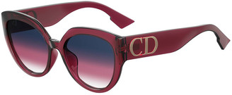 Christian Dior DiorF Round Sunglasses w/ Oversized Logo Temples