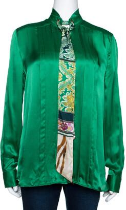 Roberto Cavalli Green Silk Neck Tie Detail Long Sleeve Blouse M