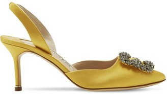 Manolo Blahnik 70mm Hangisli Satin Slingback Pumps