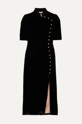 Saloni + Venyx Taro Button-embellished Velvet Midi Dress - Black
