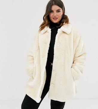 Asos DESIGN Curve faux fur button through coat in cream