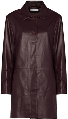 Richard Malone Single-Breasted Leather Coat