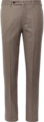 Sid Mashburn Dark-Taupe Slim-Fit Melange Wool-Flannel Trousers