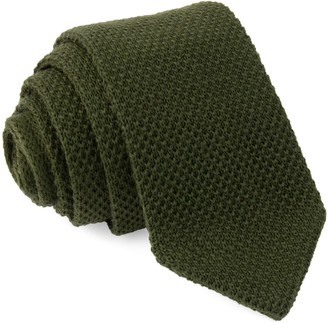Tie Bar Wool Pointed Tip Knit Hunter Green Tie