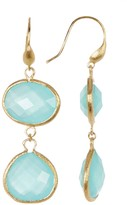 Rivka Friedman 18K Gold Clad Faceted Mint Chalcedony Crystal Double Dangle Earrings