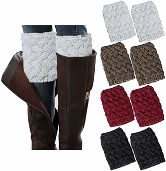 Chalier 4 Pairs Womens Leg Warmers Winter Warm Boots Socks Crochet Knitted Short Boot Cuffs Topper Socks Christmas Gifts