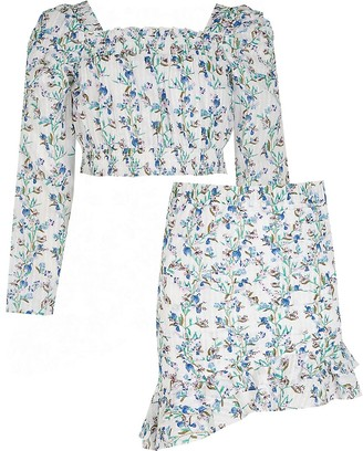River Island Girls white floral puff sleeve top outfit