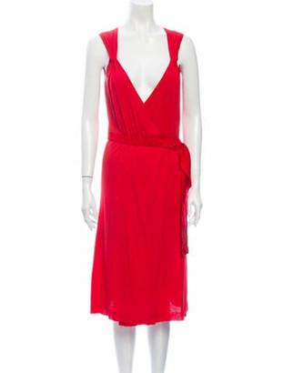 Valentino V-Neck Midi Length Dress Red