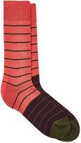 Paul Smith Men's Striped Mid-Calf Socks-Orange