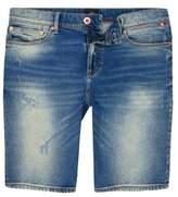 River Island Mens Blue washed skinny denim shorts