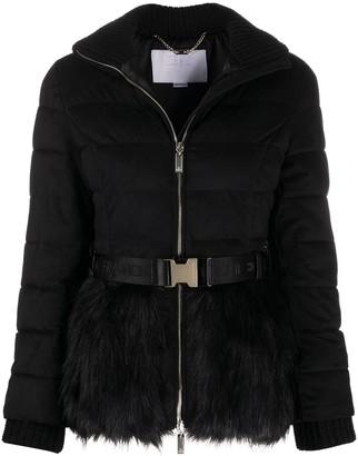 Elisabetta Franchi Fur-Trim Quilted Coat