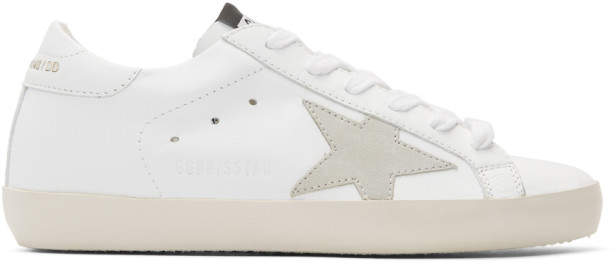 Golden Goose White and Grey Clean Superstar Sneakers