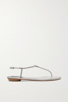 Rene Caovilla Diana Crystal-embellished Metallic Leather Sandals - Silver