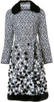 Oscar de la Renta diamond jacquard trench coat - women - Silk/Mink Fur - 6