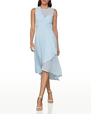 BCBGMAXAZRIA Draped Chiffon Midi Dress