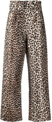 Ganni Leopard-Print Paperbag Trousers