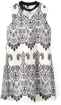 Amy Byer Black & White Lace-Accent Shift Dress - Girls