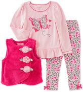 Kids Headquarters 3 Pc. Faux Fur Vest, Top & Leggings Set, Baby Girls (0-24 months)