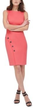 DKNY Embellished Skirt-Overlap Sheath Dress