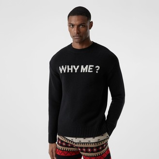 Burberry Slogan Intarsia Cashmere Sweater