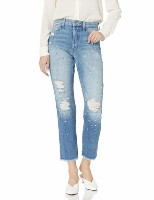 Joe's Jeans Women's Smith High Rise Embellished Straight Ankle Jean Pants