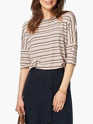 Brora Fine Stripe T-Shirt, Oatmeal