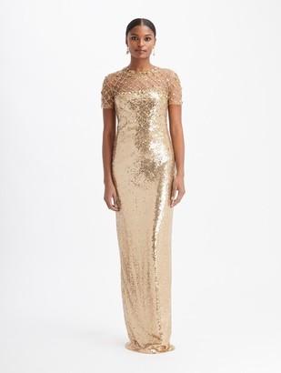 Oscar de la Renta Tulle Scatter Sequin Gown