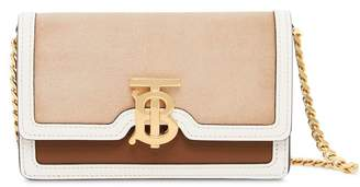 Burberry Mini Suede and Two-tone Leather Shoulder Bag