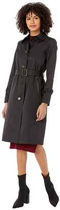 Sam Edelman Single Breasted Trench (Black) Women's Clothing