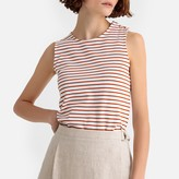La Redoute Collections Metallic Cotton Striped Vest Top with Buttons