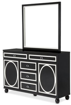 Michael Amini Sky Tower 5 Drawer Combo Dresser with Mirror Color: Black Ice