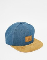 Asos Snapback Cap In Blue Washed Canvas With Tan Faux Suede Peak
