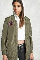 Forever 21 Patched Longline Bomber Jacket
