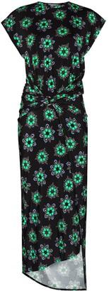 Paco Rabanne Gathered Floral Print Midi Dress
