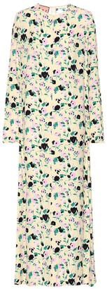 Plan C Floral-printed crepe maxi dress