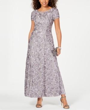 Alex Evenings Petite Rosette Lace A-Line Gown