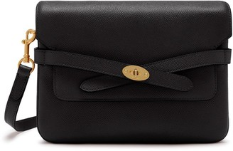 Mulberry Belted Bayswater Satchel Black Small Printed Grain