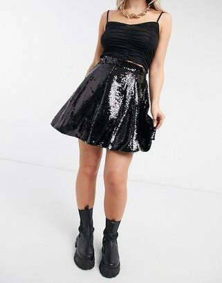 NA-KD sequin mini skirt in black