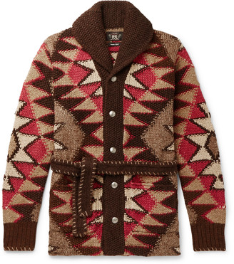 Ralph Lauren RRL Shawl-Collar Intarsia Linen-Blend Cardigan