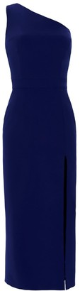 Nomi Fame Dori Royal Blue Asymmetric Neckline Midi Dress With A Slit