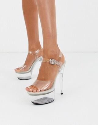 Public Desire Teaser clear platform stiletto sandal in beige