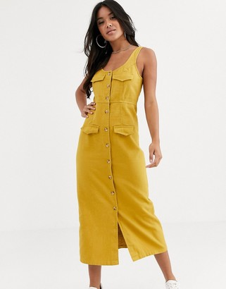 Asos Design DESIGN denim button down midi dress in mustard-Orange