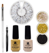 Red Carpet Manicure Gems & Jewels Golden Dust LED Gel Polish Nail Art Kit